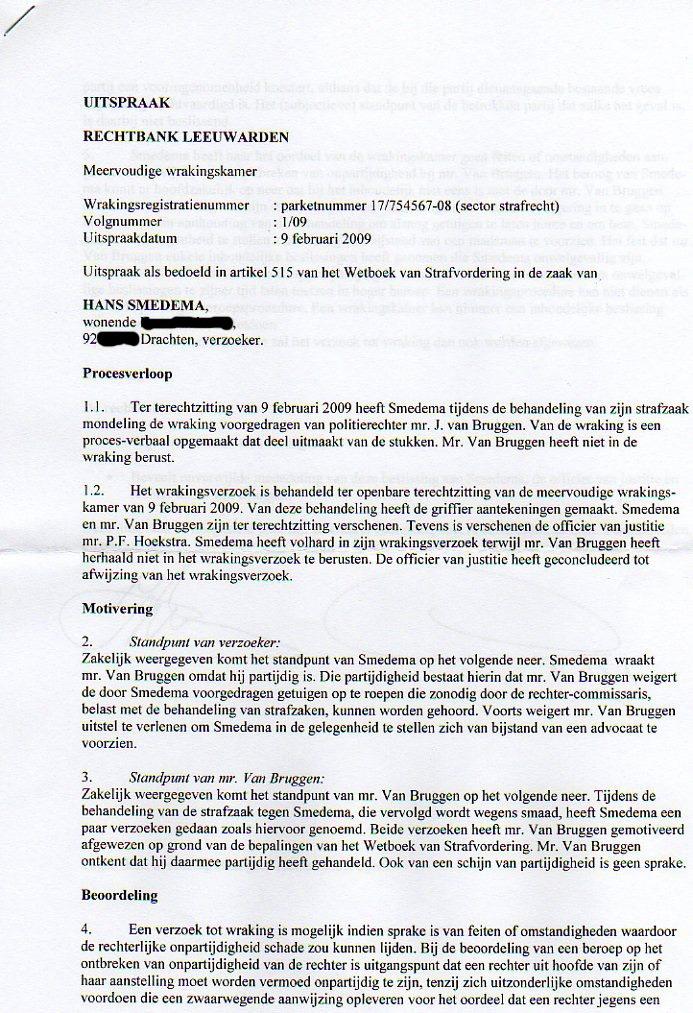 J'Accuse Politierechter Jeroen van Bruggen!