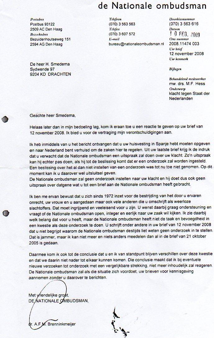 Nationale Ombudsman weigert.